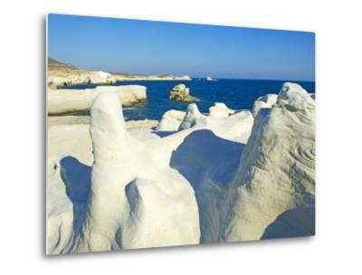 Sarakiniko Lunar Landscape, Sarakiniko Beach, Milos, Cyclades Islands, Greek Islands, Aegean Sea, G-Tuul-Metal Print
