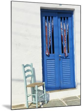 Blue Door in the Old Village of Kastro, Sifnos, Cyclades Islands, Greek Islands, Greece, Europe-Tuul-Mounted Photographic Print