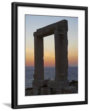 Gateway, Temple of Apollo, at the Archaeological Site, Naxos, Cyclades Islands, Greek Islands, Aege-Tuul-Framed Photographic Print