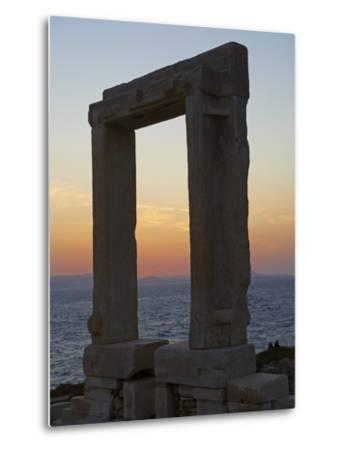 Gateway, Temple of Apollo, at the Archaeological Site, Naxos, Cyclades Islands, Greek Islands, Aege-Tuul-Metal Print