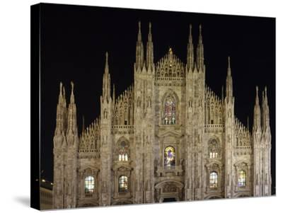 Duomo at Night, Milan, Lombardy, Italy, Europe-Vincenzo Lombardo-Stretched Canvas Print