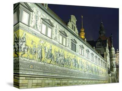 Furstenzug on the Walls of Dresden Castle, Dresden, Saxony, Germany, Europe-Hans Peter Merten-Stretched Canvas Print