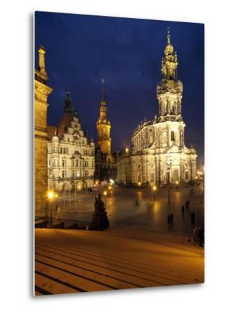 Hofkirche and Palace at Theaterplatz, Dresden, Saxony, Germany, Europe-Hans Peter Merten-Metal Print