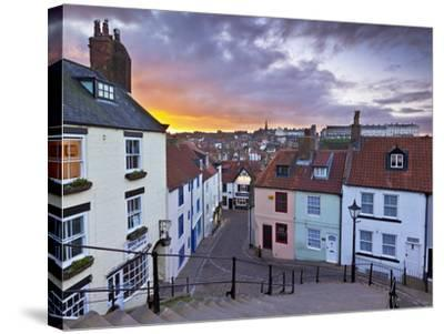Whitby Town Houses at Sunset from the Abbey Steps, Whitby, North Yorkshire, Yorkshire, England, Uni-Neale Clark-Stretched Canvas Print