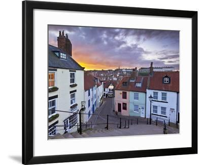Whitby Town Houses at Sunset from the Abbey Steps, Whitby, North Yorkshire, Yorkshire, England, Uni-Neale Clark-Framed Photographic Print
