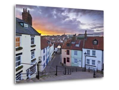 Whitby Town Houses at Sunset from the Abbey Steps, Whitby, North Yorkshire, Yorkshire, England, Uni-Neale Clark-Metal Print
