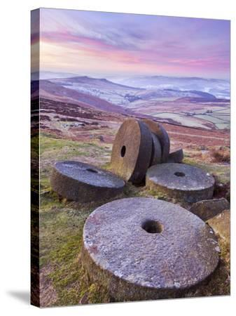 Stanage Edge Wheelstones (Millstones) and Frosty Winter Moorland Sunrise, Peak District National Pa-Neale Clark-Stretched Canvas Print