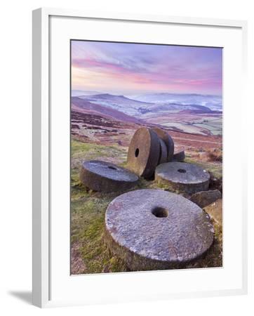 Stanage Edge Wheelstones (Millstones) and Frosty Winter Moorland Sunrise, Peak District National Pa-Neale Clark-Framed Photographic Print