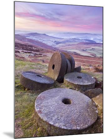 Stanage Edge Wheelstones (Millstones) and Frosty Winter Moorland Sunrise, Peak District National Pa-Neale Clark-Mounted Photographic Print