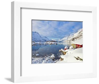 Snow Covered Mountains, Boathouse and Moorings in Norwegian Fjord Village of Ersfjord, Kvaloya Isla-Neale Clark-Framed Photographic Print