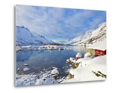 Snow Covered Mountains, Boathouse and Moorings in Norwegian Fjord Village of Ersfjord, Kvaloya Isla-Neale Clark-Metal Print