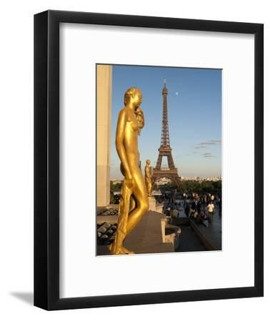 Statues of Palais De Chaillot and Eiffel Tower, Paris, France, Europe-Richard Nebesky-Framed Photographic Print