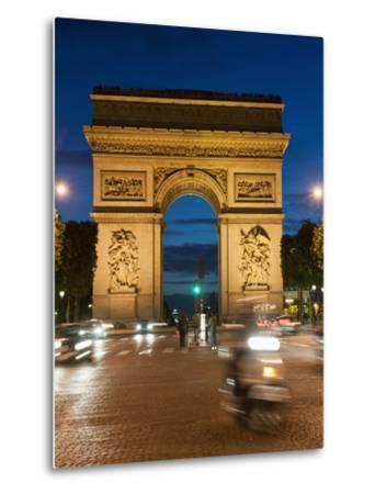 Traffic around Arc De Triomphe, Avenue Des Champs Elysees, Paris, France, Europe-Richard Nebesky-Metal Print