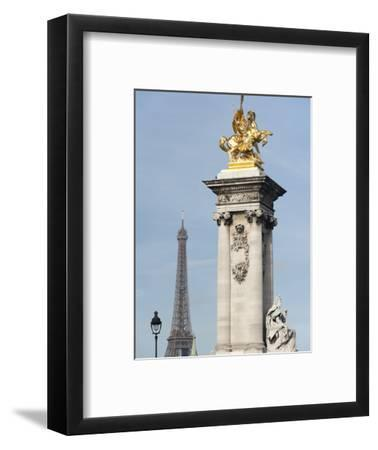 Decorated Pillar of Alexandre Iii Bridge and the Eiffel Tower, Paris, France, Europe-Richard Nebesky-Framed Photographic Print