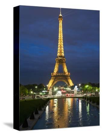 Eiffel Tower and Reflection at Twilight, Paris, France, Europe-Richard Nebesky-Stretched Canvas Print