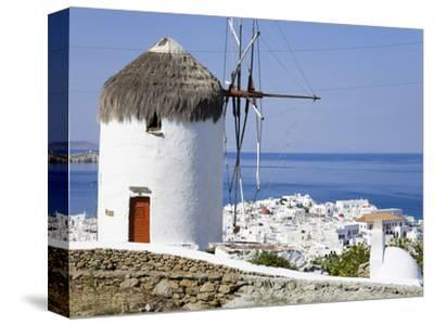 Bonis Windmill at the Folklore Museum in Mykonos Town, Island of Mykonos, Cyclades, Greek Islands, -Richard Cummins-Stretched Canvas Print