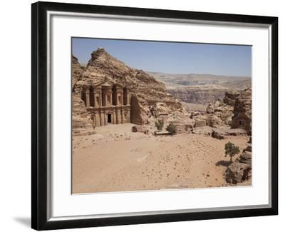 The Facade of the Monastery Carved into the Red Rock at Petra, UNESCO World Heritage Site, Jordan, -Martin Child-Framed Photographic Print