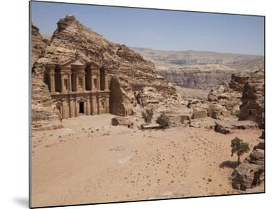 The Facade of the Monastery Carved into the Red Rock at Petra, UNESCO World Heritage Site, Jordan, -Martin Child-Mounted Photographic Print