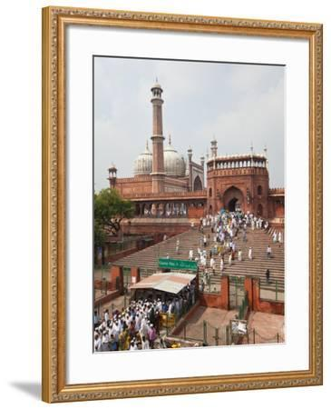 People Leaving the Jama Masjid (Friday Mosque) after the Friday Prayers, Old Delhi, Delhi, India, A-Gavin Hellier-Framed Photographic Print