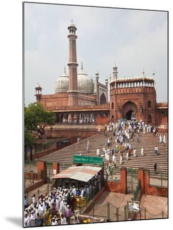 People Leaving the Jama Masjid (Friday Mosque) after the Friday Prayers, Old Delhi, Delhi, India, A-Gavin Hellier-Mounted Photographic Print
