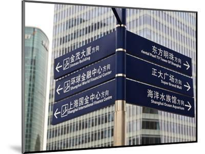 Street Signs in Pudong, Shanghai, China, Asia-Amanda Hall-Mounted Photographic Print