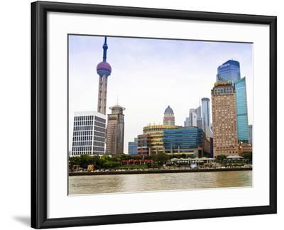 Pudong Skyline across the Huangpu River, Oriental Pearl Tower on Left, Shanghai, China, Asia-Amanda Hall-Framed Photographic Print