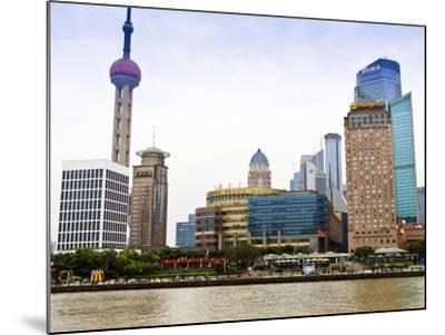 Pudong Skyline across the Huangpu River, Oriental Pearl Tower on Left, Shanghai, China, Asia-Amanda Hall-Mounted Photographic Print