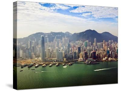 Cityscape of Hong Kong Island and Victoria Harbour, Hong Kong, China, Asia-Amanda Hall-Stretched Canvas Print