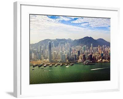 Cityscape of Hong Kong Island and Victoria Harbour, Hong Kong, China, Asia-Amanda Hall-Framed Photographic Print