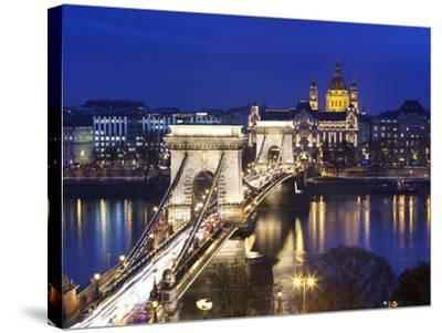 Chain Bridge and St. Stephen's Basilica at Dusk, UNESCO World Heritage Site, Budapest, Hungary, Eur-Stuart Black-Stretched Canvas Print