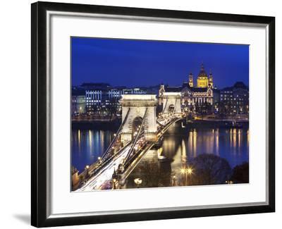 Chain Bridge and St. Stephen's Basilica at Dusk, UNESCO World Heritage Site, Budapest, Hungary, Eur-Stuart Black-Framed Photographic Print