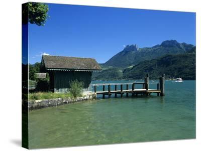 Pier on Lake, Duingt, Lake Annecy, Rhone Alpes, France, Europe-Stuart Black-Stretched Canvas Print