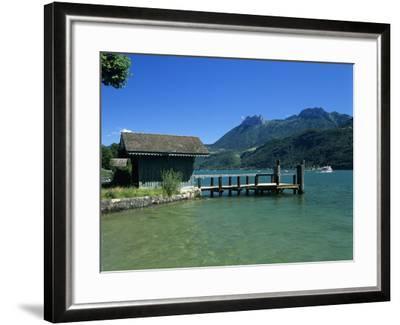 Pier on Lake, Duingt, Lake Annecy, Rhone Alpes, France, Europe-Stuart Black-Framed Photographic Print