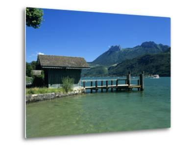 Pier on Lake, Duingt, Lake Annecy, Rhone Alpes, France, Europe-Stuart Black-Metal Print