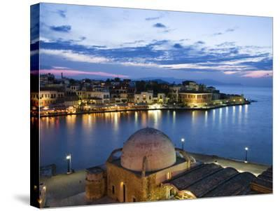 Venetian Harbour and Mosque of the Janissaries at Dusk, Chania (Hania), Chania Region, Crete, Greek-Stuart Black-Stretched Canvas Print
