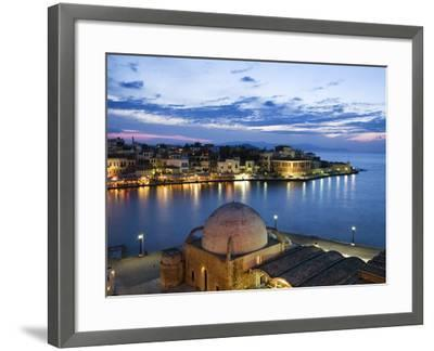 Venetian Harbour and Mosque of the Janissaries at Dusk, Chania (Hania), Chania Region, Crete, Greek-Stuart Black-Framed Photographic Print