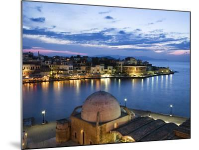 Venetian Harbour and Mosque of the Janissaries at Dusk, Chania (Hania), Chania Region, Crete, Greek-Stuart Black-Mounted Photographic Print