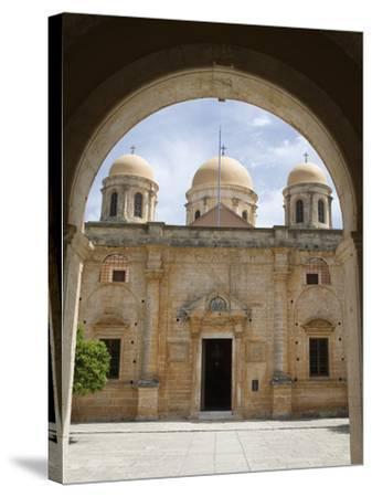Entrance of Monastery, Agia Triada Monastery (Moni Zangarolo), Akrotiri Peninsula, Chania Region, C-Stuart Black-Stretched Canvas Print