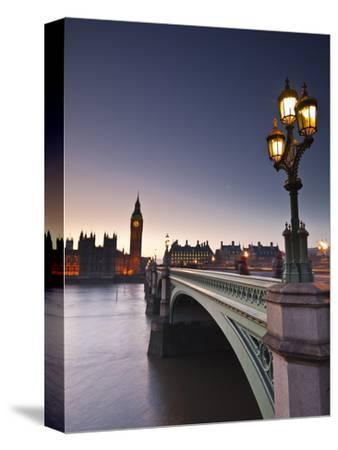Looking across the River Thames Towards the Houses of Parliament and Westminster Bridge, London, En-Julian Elliott-Stretched Canvas Print