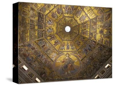 Enthroned Christ, by Coppo Di Marcovaldo, 13th Century Mosaics, Cupola Ceiling, Baptistry, Florence-Peter Barritt-Stretched Canvas Print