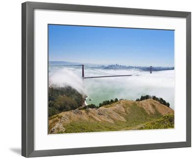 Golden Gate Bridge and the San Francisco Skyline Floating Above the Fog on a Foggy Day in San Franc-Gavin Hellier-Framed Photographic Print