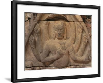 Detail of Carving of Hindu Divinity, Cham Ruins of My Son, UNESCO World Heritage Site, Near Hoi An,-Stuart Black-Framed Photographic Print