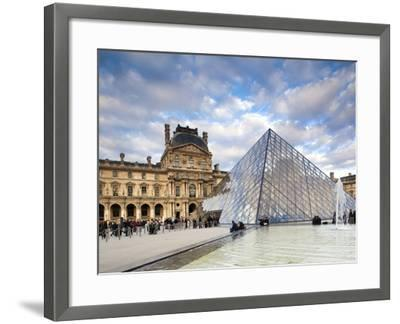 Musee Du Louvre Museum and the Louvre Pyramid, Paris, France-Walter Bibikow-Framed Photographic Print