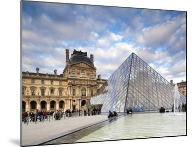 Musee Du Louvre Museum and the Louvre Pyramid, Paris, France-Walter Bibikow-Mounted Photographic Print