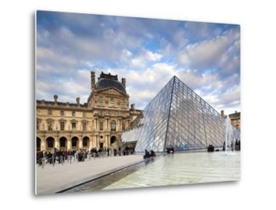 Musee Du Louvre Museum and the Louvre Pyramid, Paris, France-Walter Bibikow-Metal Print