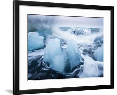 Icebergs from Vatnajokull Glacier, North Atlantic, Jokulsarlon, Skaftafell National Park, Iceland-Paul Souders-Framed Photographic Print