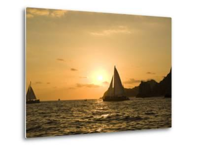 Sailboat at Sunset, Bay of Land's End (El Arco),Cabo San Lucas, Baja, Mexico-Michele Westmorland-Metal Print