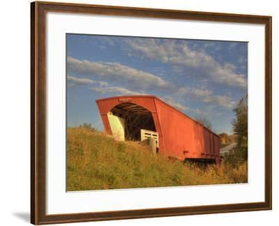 Holliwell Covered Bridge Spans Middle River, Built in 1880, Madison County, Iowa, Usa-Jamie & Judy Wild-Framed Photographic Print