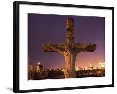 Statue, Jesus Christ in Holy Rosary Cemetery Near Petrochemical Plant, Baton Rouge, Louisiana, Usa-Paul Souders-Framed Photographic Print