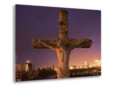 Statue, Jesus Christ in Holy Rosary Cemetery Near Petrochemical Plant, Baton Rouge, Louisiana, Usa-Paul Souders-Metal Print